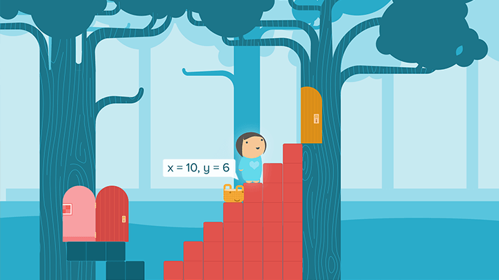 Aspirational screentshot of a child building a staircase by manipulating number blocks